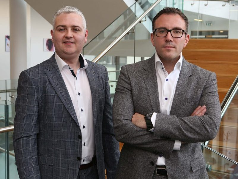 From left: AuriGen Medical founders, Tony O'Halloran, chief technology officer, and John Thompson, chief executive officer, at their office in NUI Galway.