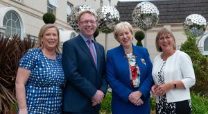 From L to R: Christina Kenny, chief people officer at Abtran; Pat Ryan, CEO at Abtran, Minister for Business Heather Humphires, TD; and Julie Sinnamon, CEO Enterprise Ireland Image: Rory Geary