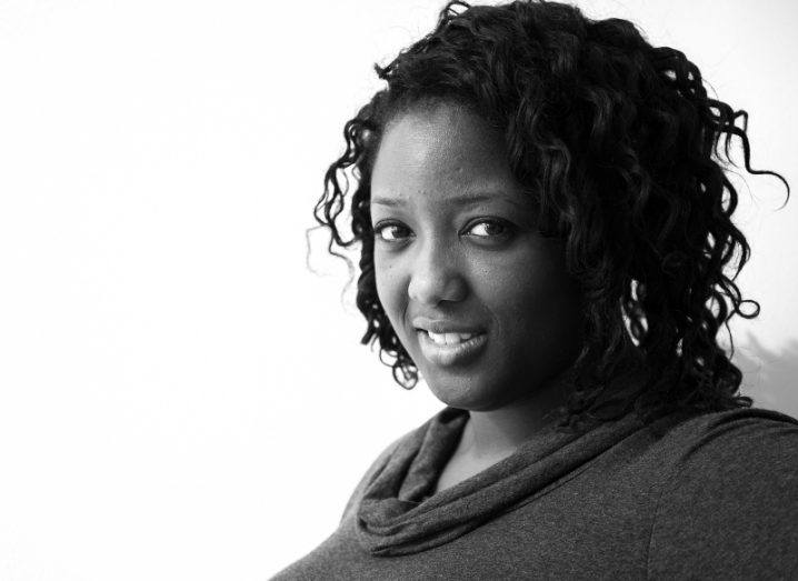 Black and white headshot of Dr Anne-Marie Imafidon