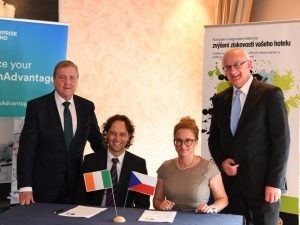 From left: Minister of State, Pat Breen TD, Jaromír Pažout of Bookassist and Patricie Rosenbergová, CPI Hotels and Dr Tom Kelly of Enterprise Ireland