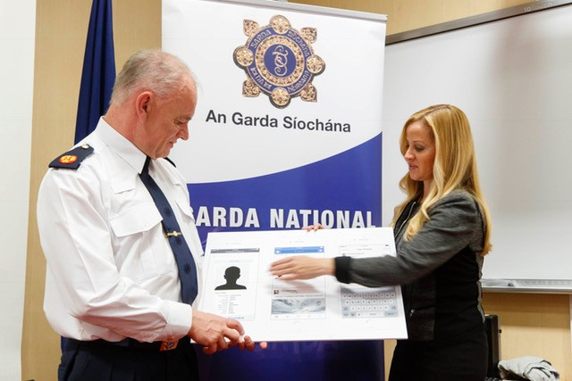 John O'Driscoll, Assistant Commissioner special crime operations of An Garda Síochána is pictured with Emily Vacher, director of trust and safety at Facebook at the announcement of a partnership between Facebook and An Garda Síochána