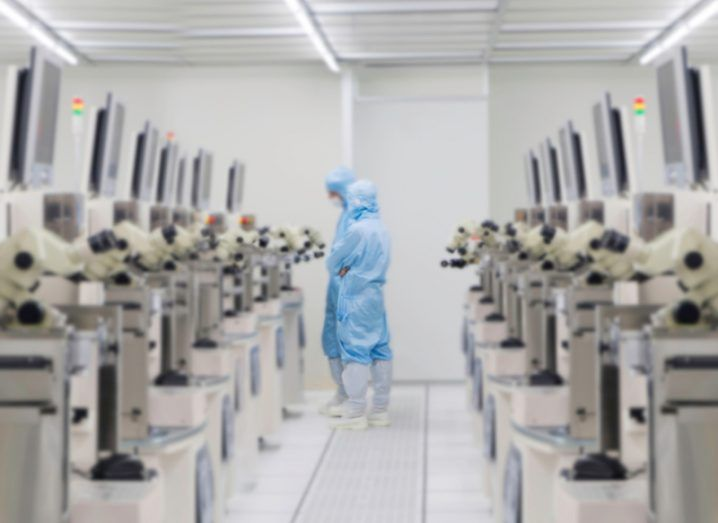 Clean room in an IoT chip manufacturing facility