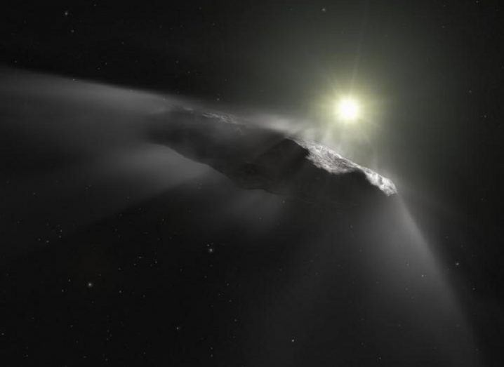 An artist's impression of the comet, 'Oumuamua