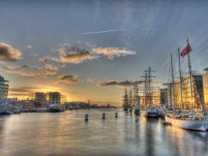 tall ships at Dublin bay on sunrise