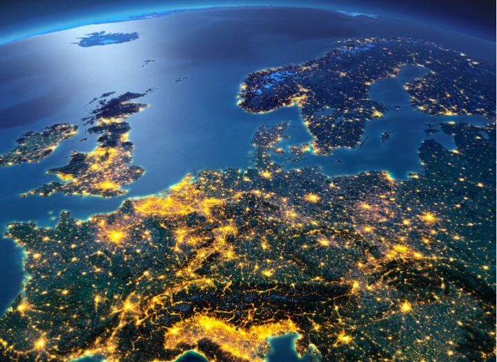 Satellite image of Europe lit up