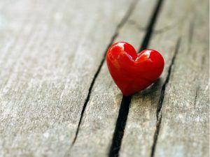Heart on wooden board