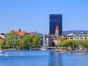 the city of Zug from Lake Zug
