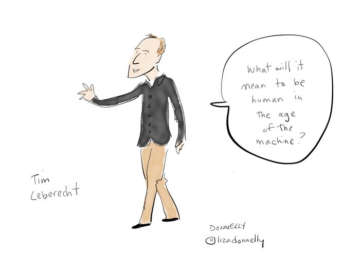 Illustration of Tim Leberecht onstage at Inspirefest 2018