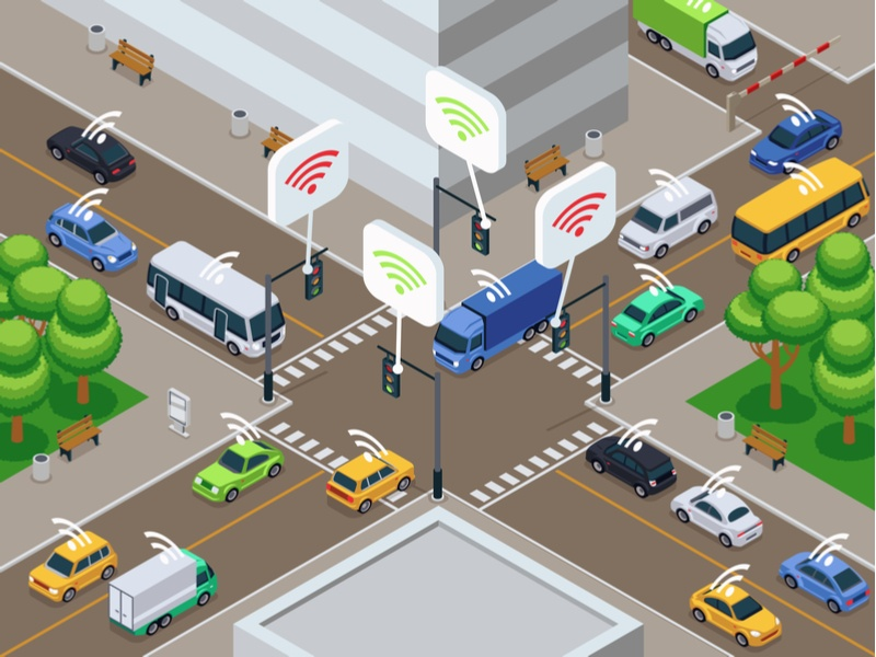 Illustration of a busy, connected city