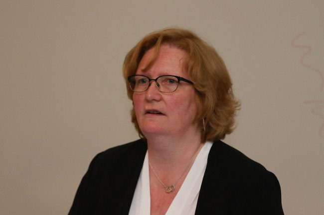 Headshot of CeIC director Dr Pamela Hussey, who wears a black blazer and white blouse