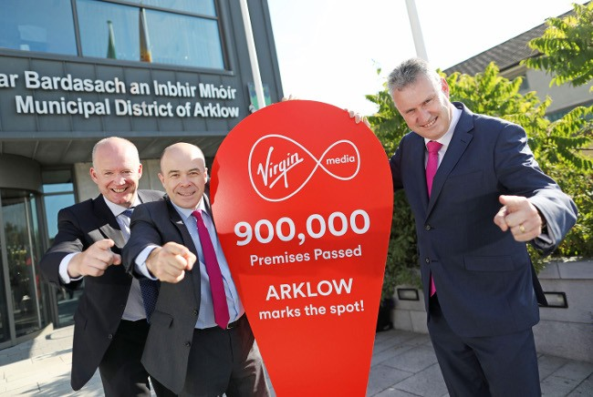 Pictured in Arklow: The CEO of Virgin Media in Ireland Tony Hanway; Minister for Communications, Denis Naughten, TD; and CEO of Wicklow County Council Frank Curran. Image: Julien Behal