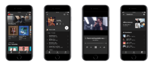 Various screens with YouTube music