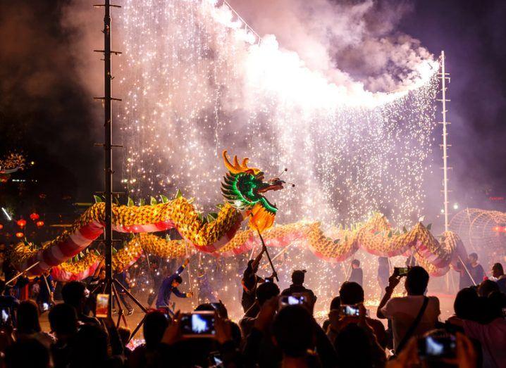 2018 Chinese New Year dragon dance. Image: Pran Thira/Shutterstock