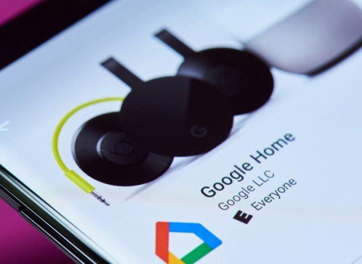 Google Home app screen.