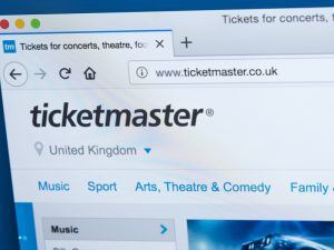 Ticketmaster homepage.