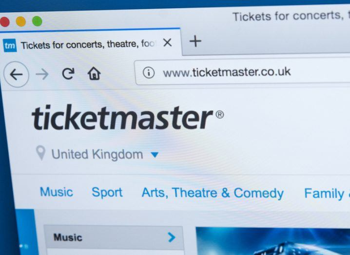 Ticketmaster homepage.
