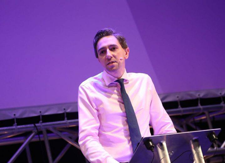 Minister Simon Harris addresses the Inspirefest crowd at the Bord Gáis Energy Theatre. Image: Conor McCabe