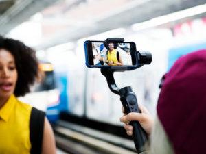 Picture of a vlogger doing a piece to camera