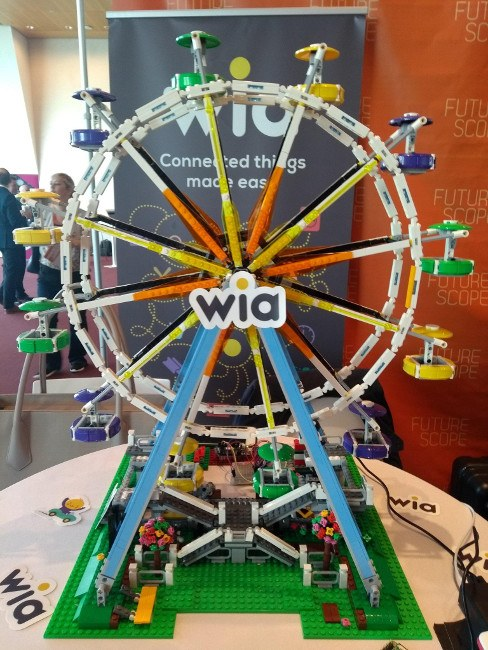 ferris wheel made out of lego with wia logo