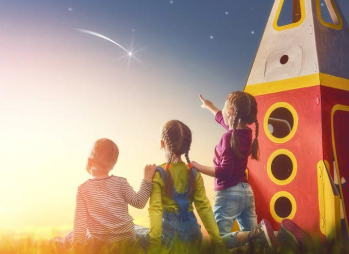 kids playing with rocket see a shooting star
