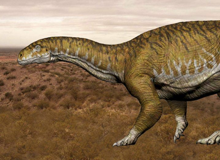 An artist's impression of Ingentia prima, a giant herbivorous dinosaur with a long neck, superimposed on a photograph of the fossil site in Argentina