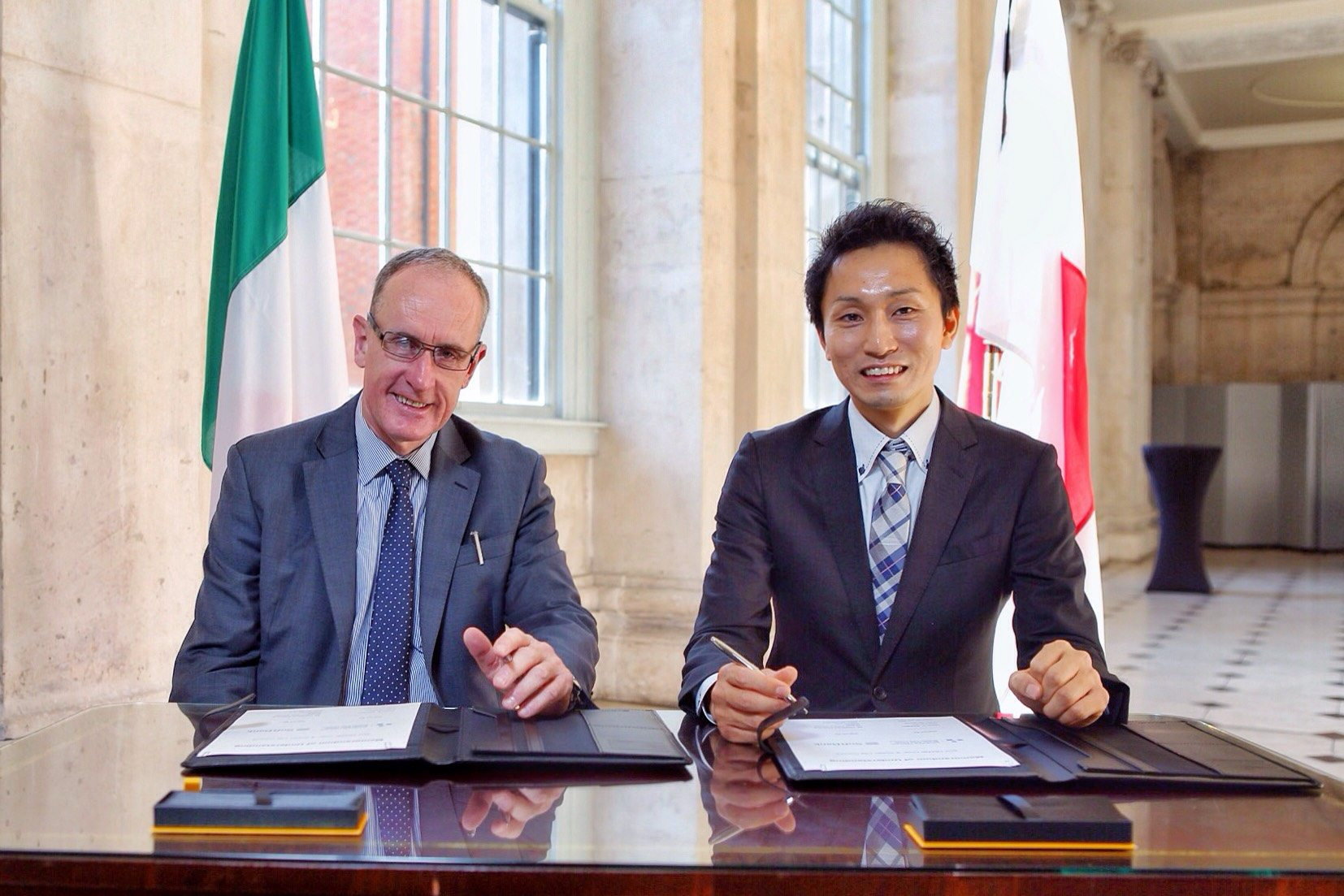 Dublin City Council chief executive Owen Keegan and Hidebumi Kitahara, vice president of SoftBank's global business strategy division.