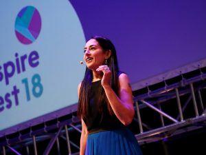 Deepa Mann-Kler speaking on stage at Inspirefest 2018