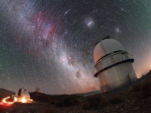 Telescope in front of night sky