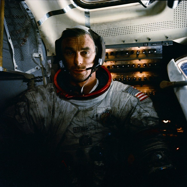 Eugene Cernan covered in moon dust