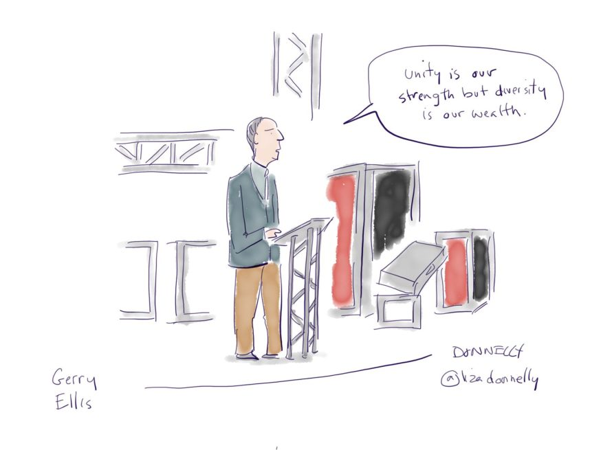 Gerry Ellis as illustrated by Liza Donnelly at Inspirefest 2018
