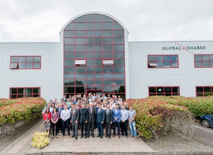 Global Shares office in Cork with staff in front of building