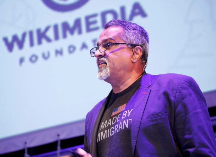 Raju Narisetti at Inspirefest 2018 discussing Wikipedia.