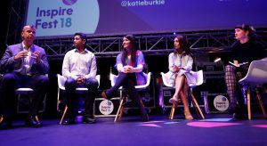 Deutsche Bank Service Centre's Sheamus Causer, Reflektive's Rajeev Behera, HubSpot's Katie Burke, Fidelity International's Ranjani Kearsley and Siliconrepublic.com's Elaine Burke speaking on the future of work panel at Inspirefest 2018.