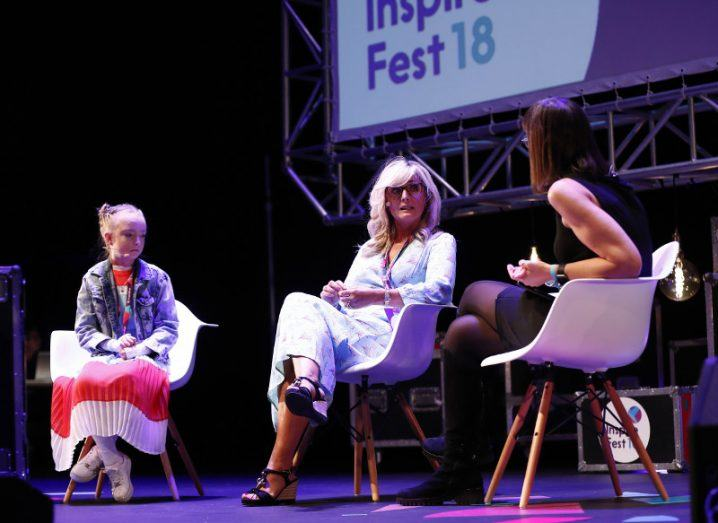 Claudia Collins, Liz Collins and Ann O'Dea chatting about the realities of EB and the work of Debra Ireland at Inspirefest 2018. Image: Conor McCabe photography.