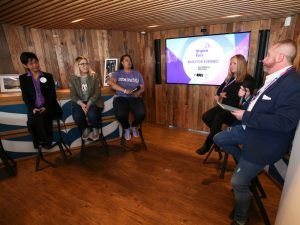 From left: Astia advisory board member Yuka Nagashima; Backstage Capital general partner Christie Pitts; Backstage Capital founder and managing partner Arlan Hamilton; Silicon Valley Bank head of early stage banking Claire Lee; and Silicon Republic editor John Kennedy. Image: Conor McCabe Photography