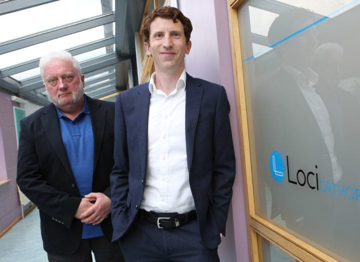 Pictured are Loci Orthopaedics founders Gerry Clarke, CTO, and Dr Brendan Boland, CEO, at their office in NUI Galway. Image: Aengus McMahon