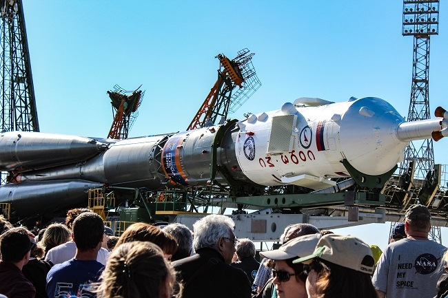The Soyuz MS-09 rolling out for launch