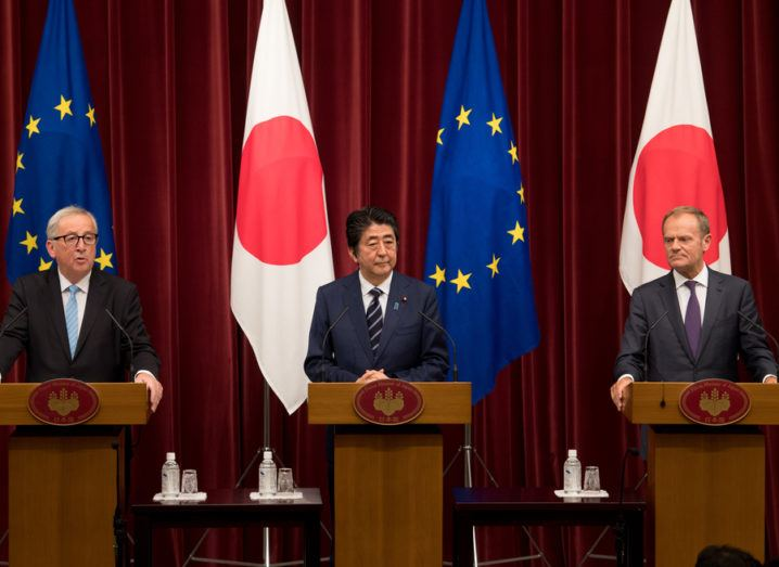 From left: Jean-Claude Juncker,  Shinzō Abe and Donald Tusk in Tokyo.