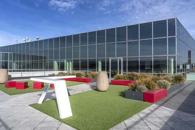 Rooftop garden with grass mats, plants and areas for seating and standing