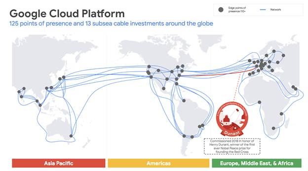 World map showing Google's existing subsea investments. Image: Google Cloud