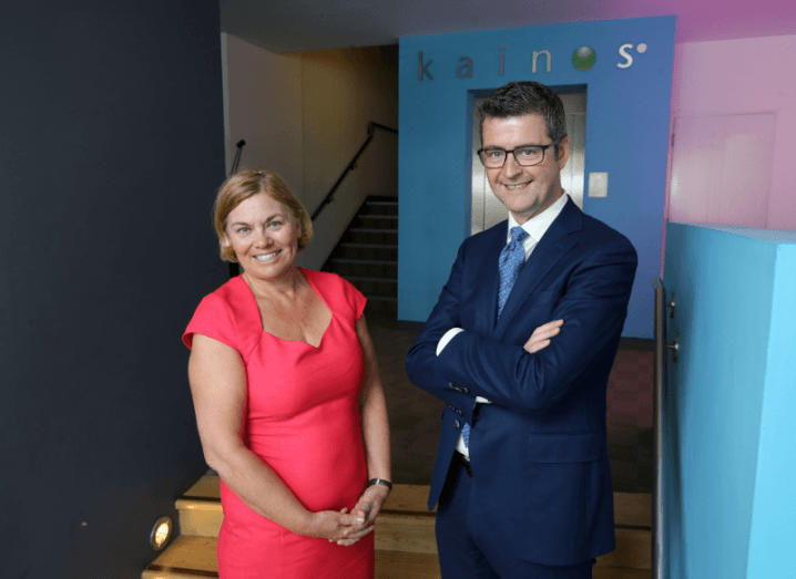 Pictured: Tracy Meharg, executive director of Business Solutions, Invest NI with Brendan Mooney, CEO, Kainos. Image: Invest NI