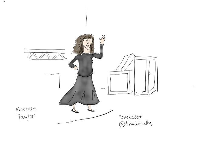 cartoon of maureen taylor dressed in all black