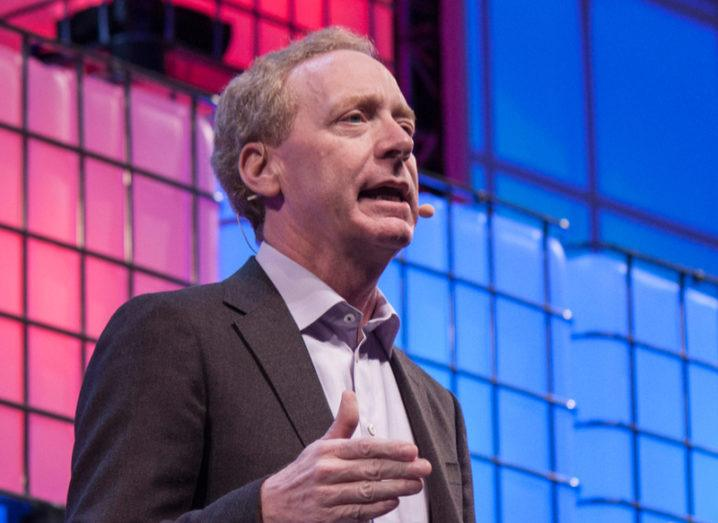 Brad Smith speaking at Web Summit in 2017. Image: G Holland/Shutterstock