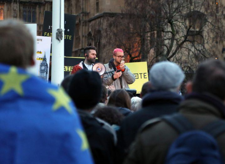 Cambridge Analytica whistleblower Christopher Wylie speaking at a rally in the UK
