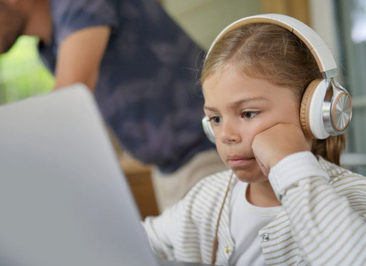 Little girl on laptop online safety