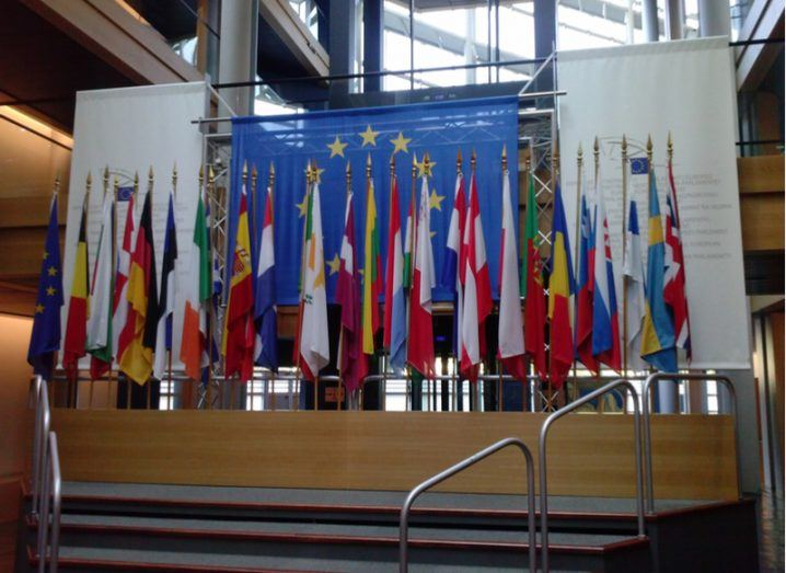 EU flags at Strasbourg, the seat of the European Parliament.