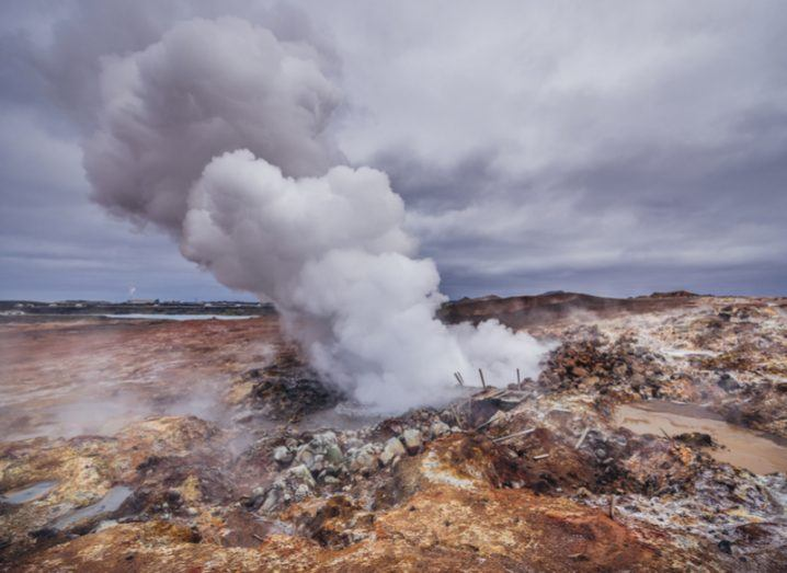 Gunnuhver, a geothermal area located at Reykjanes Peninsula in Iceland. Earthquakes research
