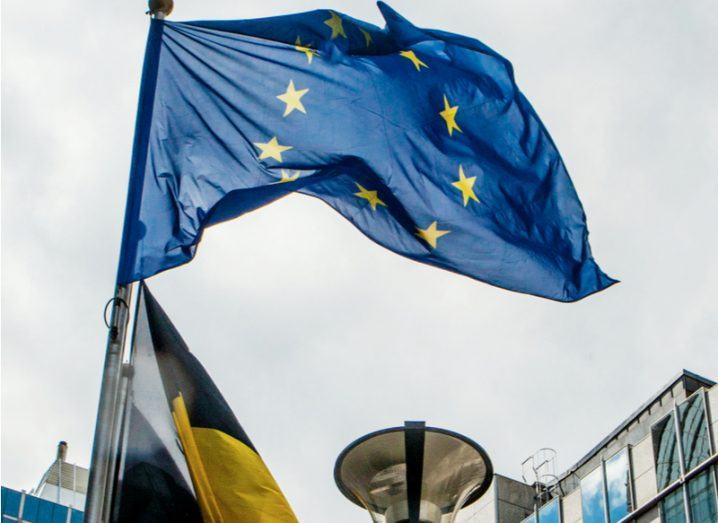 European flags in Brussels.
