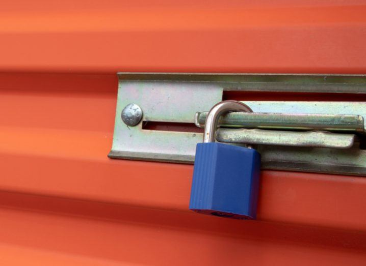 blue lock on orange storage unit