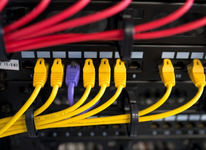 Data cables in a server. Data Transfer Project